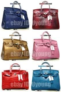 Classic croc embossed silvers lock bag women handbag w67 L/40CM