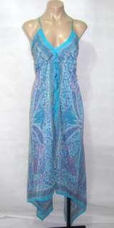 Charlotte Russe Womens Blue Paisley Silk Blend Asymmetrical Dress Size