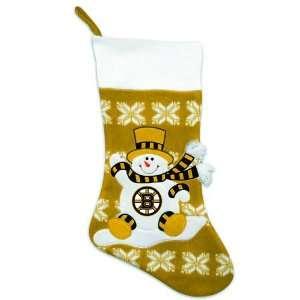 Bruins Knit Snowman & Snowflake Christmas Stocking