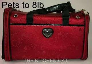 Small Designer Pet Hearts Carrier Dog Brown Travel Bed Tote Bag