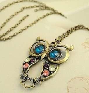 New Fashion Lovely Multicolor Jewel Big Eyes Owl Pendant Long Necklace