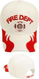 FIRE DEPT DEPARTMENT WHITE RED BASEBALL HAT CAP