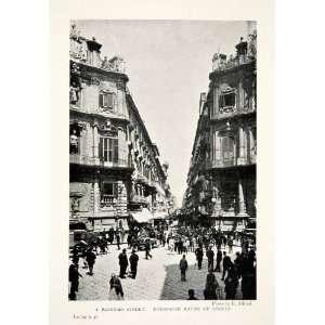com 1904 Print Street Scene Palermo Italy Historic Architecture City