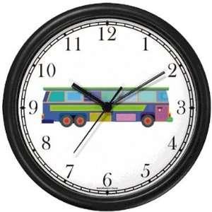 City Municipal Transit Transportation Multi Colored Bus Wall Clock by