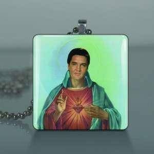 Elvis Presley Christ Sacred Heart Glass Tile Art Necklace Pendant G69