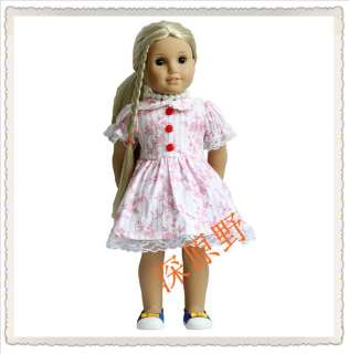 Handmade Cotton Party Dresses Clothes fit 18 inch American Girl doll