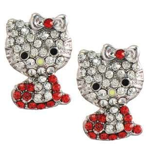 1 Pair of Hello Kitty red rhinestone earrings Arts