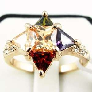 Simulated Gemstone 18K Gold Plated Retro Rings 01 0153