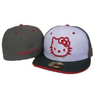 Grey/White New Era Hello Kitty Fitted Cap Size 7 1/4