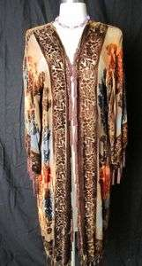 SILK VELVET ROSE HAND PAINT ART BEADED KIMONO ROBE DUSTER OPERA COAT