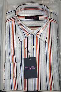 Milena by Delsiena ITALY Blue Striped Mens Dress Shirt New in Box SKU