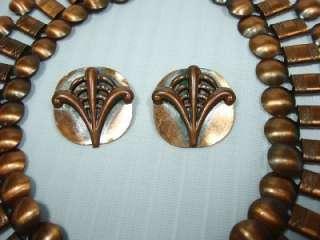 VTG Art Deco Book Chain Copper Collar Necklace Wide Egyptian Matisse
