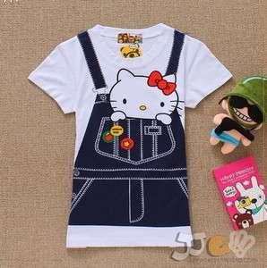 Overalls Hello Kitty Short Sleeves Woman Girls Top Tee Tshirt Cotton
