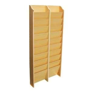 20 Pocket Wooden Magazine Rack Wall Mount