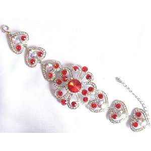 Prom Big Red Ab Crystal Rhinestone Flower Bracelet