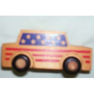 Montgomery Schoolhouse Red stripes & Blue Stars Car   1982