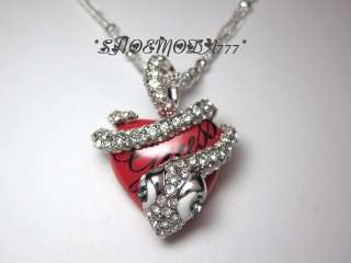 Scarlet Snake Red Heart Necklace Collier Rhinestones Gift Pouch