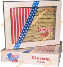 Box of WI American Ginseng Root Long Medium 4 oz