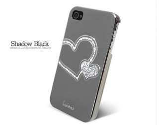 Heart Swarovski Diamond Crystal Hard Case Cover For iphone 4 4s Shadow