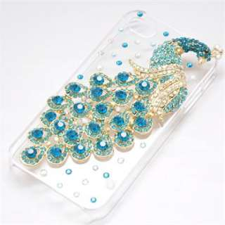 1X Blue Peacock Diamond Crystal Bling Back Case Cover Skin for iPhone