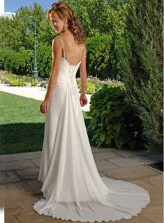 white Chiffon Sexy Wedding Dress Bridesmaid Prom Gown