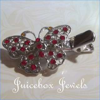 Butterfly Red Crystal Rhinestone Bling Silver Pl Hair Alligator Clip