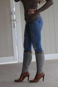Lauren Collection~Gorgeous Gray felt & leather riding boots~9.5~$1,095