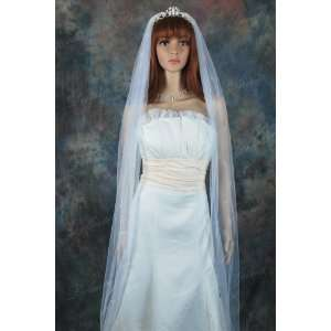 White Cathedral Length Scattered Rhinestone Simple Wedding Bridal Veil