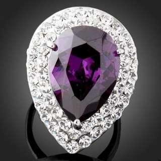 Pear Amethyst Swarovski Crystal W Gold GP Cocktail Ring