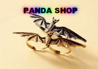 SBT Silver Gold Vintage Two Finger Ring Punk Chic Trendy Bat Pattern