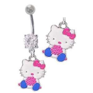 Cute Hello Kitty w/ pink flowers dangle Belly button Navel