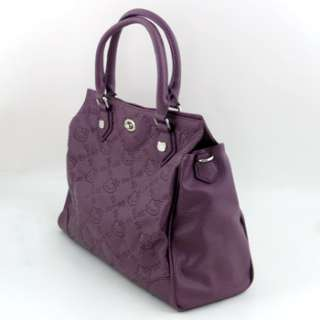 HELLO KITTY SATCHEL BAG PURSE GRAPE PURPLE FAUX LEATHER EMBOSSED BY