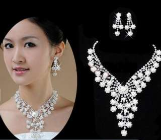 BRIDAL WEDDING PARTY JEWELRY CRYSTAL FAUX PEARL FLOWER GORGEOUS