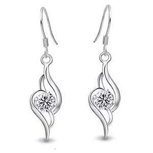 E543 Swarovski Crystal Clear Angel Love Dangle Earring