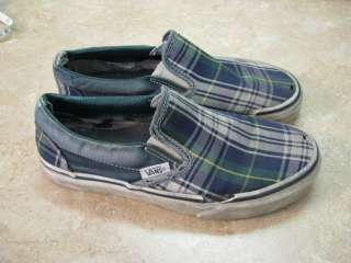 VANS Blue/Green PLAID SHOES Off the Wall M 4,W 5.5