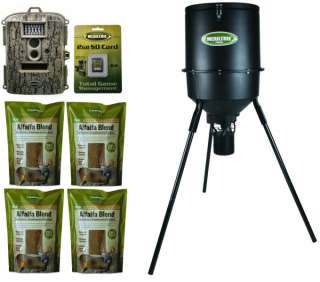MOULTRIE PHB30B Tripod Deer Feeder + D55 IR Trail Game Camera + Feed