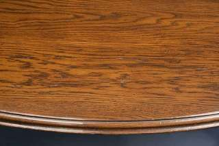 Antique Country Style English Rustic Oak Round Dining Kitchen Table