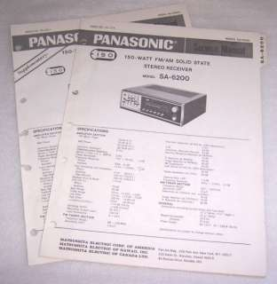 PANASONIC SA 6200 RECEIVER SERVICE MANUAL & SUPPLEMENT