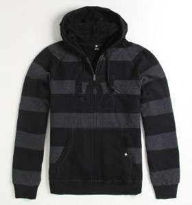 DC Shoes Cooler Stripe Sherpa Black Gray Zip Hoodie Sweatshirt Jacket