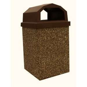 30 Gallon Concrete Open Dome Top Lid Outdoor Trash Can: Home & Kitchen