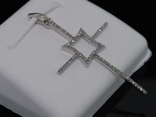 LADIES 10K WHITE GOLD DIAMOND FANCY CROSS CHARM PENDANT