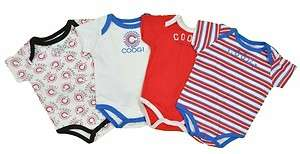 Coogi Infant Boy 4Pc Black White Red & Blue Bodysuit Set Size 0/3M 3