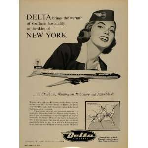1956 Ad Delta Airlines Aircraft Flight Attendant Plane