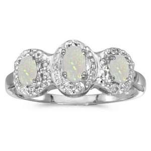 14k White Gold October Birthstone Oval Opal And Diamond Three Stone
