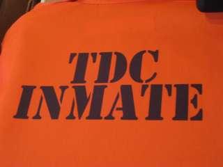 CUSTOM PRINTED Jail Inmate Orange Jumpsuit Costume