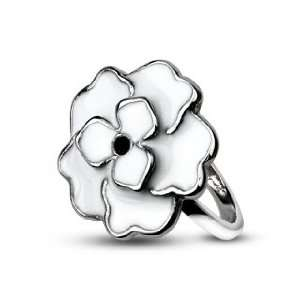 Steel Enamel White Rose Ring   Size 6 West Coast Jewelry Jewelry