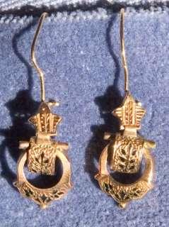 Antique Victorian Aesthetic 14k Solid Gold Dangle Earrings w Black