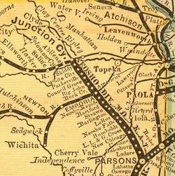 Kansas Railroad Maps, Time Table Schedules & Road Maps 1872 1934 on