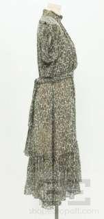 Derek Lam Green & Gray Leopard Print Silk Sleeveless Dress Size 2