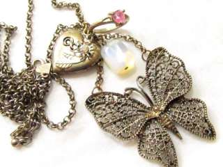 Signed DIVA Butterfly Heart locket ring Charm NECKLACE